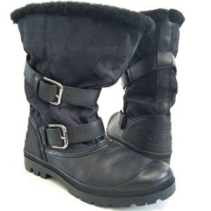 COACH Holiway Signature Winter Boot Black Faux Fur